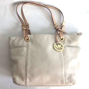 Michael Kors creme Leather Shoulder Bag